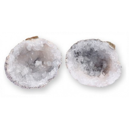 3001 2 Break open these white quartz geodes >to discover the beautiful crystals hidden within!