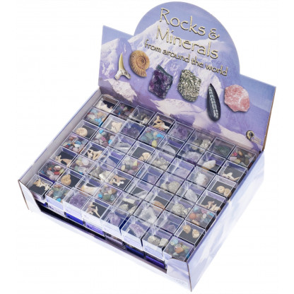 3002 This compact and easy to display merchandiser is packed full of interesting and educational fossil and mineral specimens.