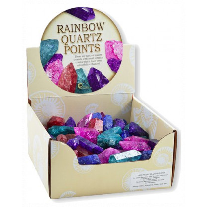 3041 Display box of 50 Rainbow Quartz points. Size: approx 3-5 cm.