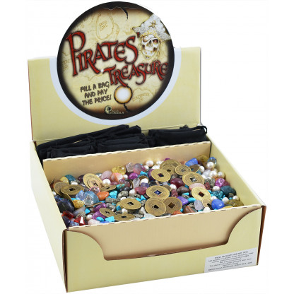 3061 3kg mix of pirate's treasure, including gemstones, fool's gold, real pearls, nuggets, crystals.