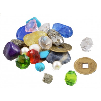 3061 3 3kg mix of pirate's treasure, including gemstones, fool's gold, real pearls, nuggets, crystals.