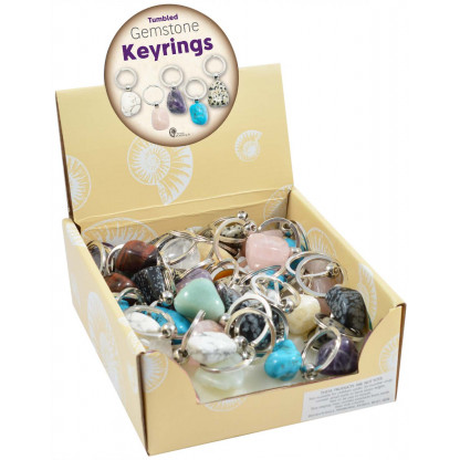 3076 Quality tumbled gemstone keyrings with a modern swivel attachment.