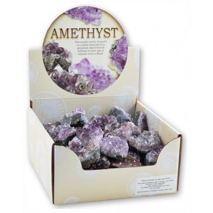 3079 Display box of 50 Amethyst clusters.