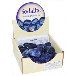 Sodalite tumbled stones display