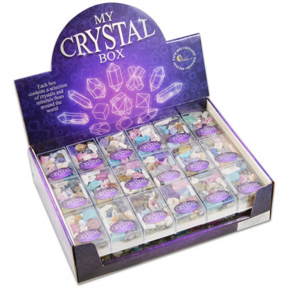 3157 Each box contains a selection of crystals and minerals from around the world....
