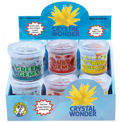 4997 Two different crystal growing experiments in one kit. Grow a crystal cluster and make a crystal tree.