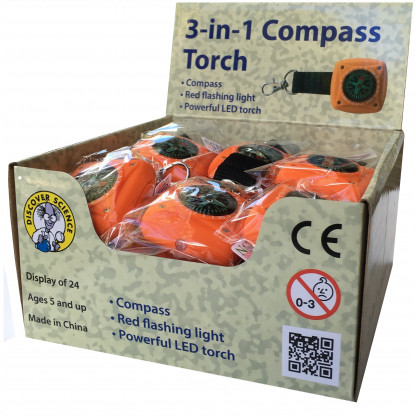 THree in one compass torch display box