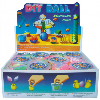 5019 Kit contains two ball moulds and four coloured powder sachets. Simply add water, allow to set and: magic - a hi-bounce ball.