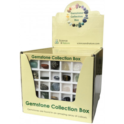 5053 1 Gemstone Collection Box includes: Amethyst, Rose Quartz, Carnelian, Hematite, Amazonite, White Howlite, Red Jasper and more.