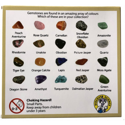 5053 2 1 Gemstones Collection Box includes: Amethyst, Rose Quartz, Carnelian, Hematite, Amazonite, White Howlite, Red Jasper and more.