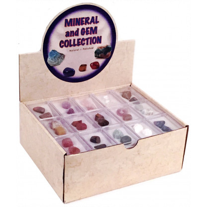5054 3 Assortment of rough and polished minerals.