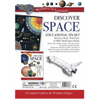 5705 1 Discover Space Educational Tin Set include reference book, wall chart and a model of the Space Shuttle to construct.