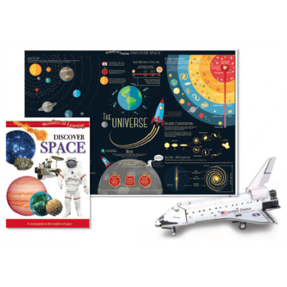 5705 3 Discover Space Educational Tin Set include reference book, wall chart and a model of the Space Shuttle to construct.