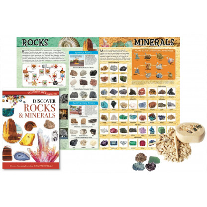 5707 3 Discover Rocks and Minerals Science kit includes fully illustrated book, wall chart and Mineral and Crystal excavation kit. <img />