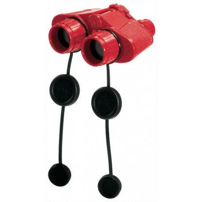 Red binoculars with lens covers