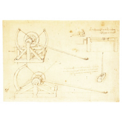 6703 4 Leonardo da Vinci improved upon the catapult designs of the Ancient Greeks and Romans. This model is a faithful reproduction.