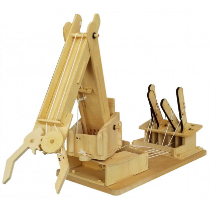 6730 1 Assemble a working crane model complete with levers to lift and move objects with this Mega Builder Crane wooden kit.