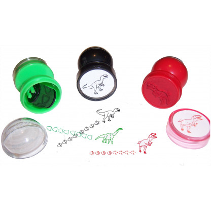 75707 1 Dinosaur Stampers. The base end stamps out the animal and the top end is a roller stamp that prints the animal's footprint.