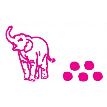 75708 Baby Elephant stampers . The base end stamps out the animal and the top end is a roller stamp that prints the animal's footprint.