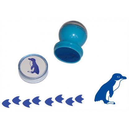 75712 1 1 Little Penguin stampers. The base end stamps out the animal and the top end is a roller stamp that prints the animal's footprint.