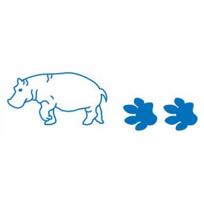 75728 Hippo stampers. The base end stamps out the animal and the top end is a roller stamp that prints the animal's footprint.