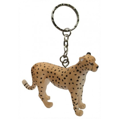 75914 Quality PVC replica of a Cheetah with a keychain attached. Size approx 7 cm long by 5 cm high.