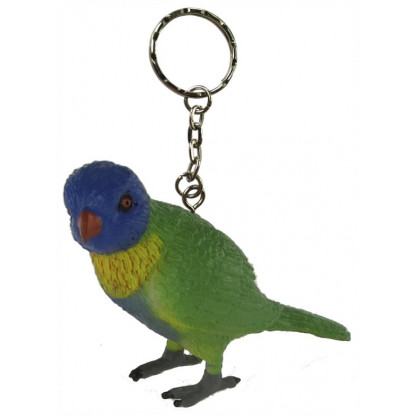 75497 Rainbow lorikeet figurine with a keychain attached.