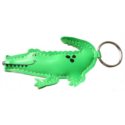 75810 Crocodile torch made from synthetic leather with a keychain and barcode.