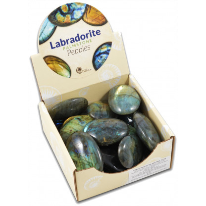 Labradorite palmstone pebbles display box