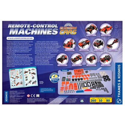 "620376 2 <p class=""p1"">Remote Control Machines Custom Cars is an automotive engineering kit that allows you to construct ten different remote-controlled cars. Build a fast race car that can speed across smooth floors and drive around the room using a precision steering mechanism.</p>"
