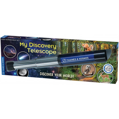 676919 My Discovery Telescope has 12x magnification power with a durable body and quality optics. It can be used for terrestrial (land) observations and astronomical (night sky) observations.