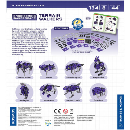 555064 1 Terrain Walkers lets you get hands-on with physics and engineering by constructing eight awesome walking machines!