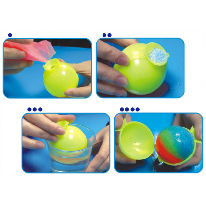 5019 4 Kit contains two ball moulds and four coloured powder sachets. Simply add water, allow to set and: magic - a hi-bounce ball.