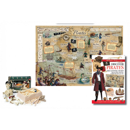 5702 3 Tin set includes illustrated book, wall chart and buried treasure excavation kit.