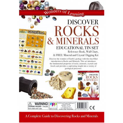 5707 1 Discover Rocks and Minerals Science kit includes fully illustrated book, wall chart and Mineral and Crystal excavation kit. <img />