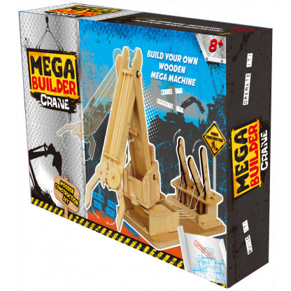 6730 6 Assemble a working crane model complete with levers to lift and move objects with this Mega Builder Crane wooden kit.