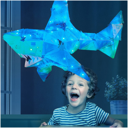 888004 2 <strong>Shimmer Shark and Ocean Pals</strong> includes 140 Creatto pieces, a string of 100 LED lights, and assembly instructions to build a shark, octopus, seagull, and fish, but the possibilities are limited only by your imagination! What will you create?
