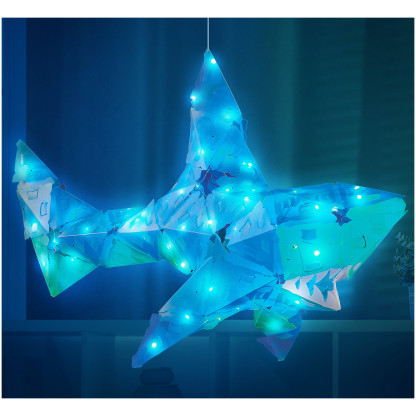 888004 4 <strong>Shimmer Shark and Ocean Pals</strong> includes 140 Creatto pieces, a string of 100 LED lights, and assembly instructions to build a shark, octopus, seagull, and fish, but the possibilities are limited only by your imagination! What will you create?
