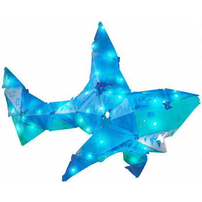 888004 9 <strong>Shimmer Shark and Ocean Pals</strong> includes 140 Creatto pieces, a string of 100 LED lights, and assembly instructions to build a shark, octopus, seagull, and fish, but the possibilities are limited only by your imagination! What will you create?