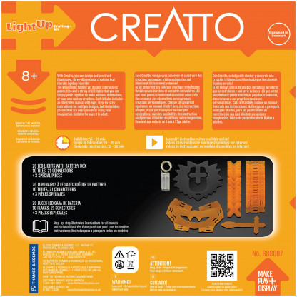 888007 1 Luminous Lion has 34 Creatto pieces and a string of 20 LED lights, you can build a lion, ostrich, snake, and rhinoceros. Battery-powered lights require 2 AA batteries. Suitable for ages 8 and up.