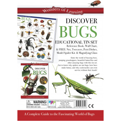 5704 1 Tin set including illustrated book, Wall chart butterfly net, tweezers, petri dishes, magnifier.