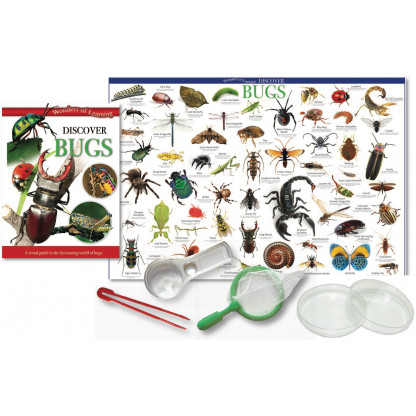 5704 4 Tin set including illustrated book, Wall chart butterfly net, tweezers, petri dishes, magnifier.