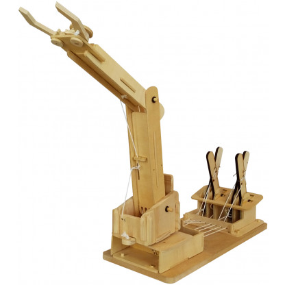 6730 3 Assemble a working crane model complete with levers to lift and move objects with this Mega Builder Crane wooden kit.